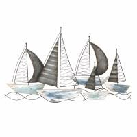 "23"" x 40"" Blue and Green Metal Racing Sailboats Wall Plaque"