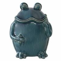 "9"" Blue Ceramic Standing Frog Figurine"