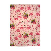 """28"""" x 19"""" Pink Flamingos and Flowers Kitchen Towel"""