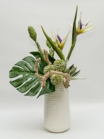 "27"" White Bird of Paradise and Allium Arrangement in White Ribbed Vase"