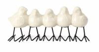 "10"" White Ceramic Five Birds In a Row"