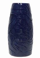 "14"" Navy Ceramic Leaves Vase"