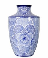 "12"" Blue Line Flower Ceramic Vase"