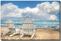 """38"""" x 60"""" Beach Chairs Island Attitude Canvas Wall Art"""