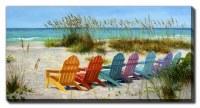 "30"" x 60"" Multicolor Adirondack Chairs Canvas Wall Art"