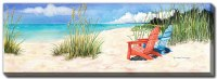 """20"""" x 60"""" Blue and Red Beach Chairs Happiness Is Canvas Wall Art"""
