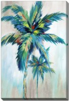 """28"""" x 22"""" Blue and Green Palm Trees Bright Breeze I Canvas Wall Art"""