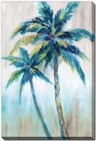 """28"""" x 22"""" Blue and Green Palm Trees Bright Breeze II Canvas Wall Art"""