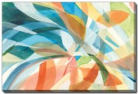 """38"""" x 60"""" Blue and Orange Colorful Abstract I Canvas Wall Art"""