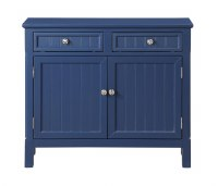 "40"" Dark Blue Two Door Two Drawer Cabinet With Bead Board Doors"