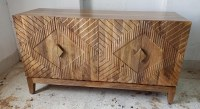 """55"""" Light Brown Wood Four Door Credenza With Geometric Patterned Doors"""