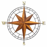 "39"" Round Teak and Metal Compass Rose Wall Plaque MM410"
