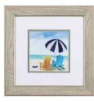 "13"" Square Multicolor Adirondack Beach Chairs Under Blue Striped Umbrella in Wood Frame"