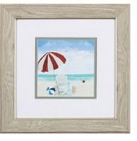 "13"" Square White Adirondack Beach Chair Under Red Striped Umbrella in Wood Frame"