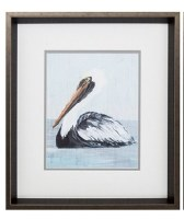 """17"""" x 15"""" White and Gray Pelican Profile With Brown Frame"""