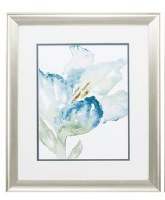"""22"""" x 19"""" Blue Watercolor Left Facing Tulip in Silver Frame"""