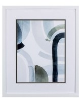 """20"""" x 17"""" Dark Blue Abstract Cool Swoops With White Frame"""