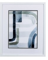 "20"" x 17"" Dark Blue and Gray Abstract Cool Swoops in White Frame"