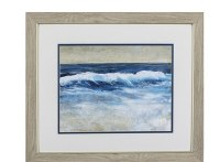 "19"" x 22"" Wave Breaking on Shore in Wood Frame"