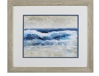 "19"" x 22"" Double Wave Shore in Wood Frame"