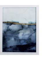 "27"" x 21"" Gel Coated Dark Blue Coastal Horizon With Frame"