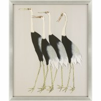 "52"" x 42"" Black and Tan Flock Together Wall Art in Silver Shadow Box Frame"