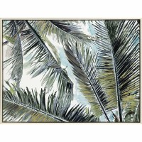 "38"" x 50"" Green and Blue Palms In The Sky Canvas Wall Art in Whitewashed Floater Frame"