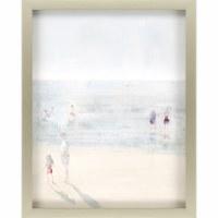 "34"" x 27"" Blue and Tan Emerald Beach I Wall Art in Silver Shadow Box Frame"