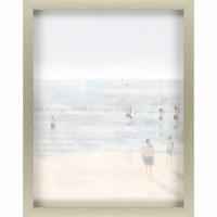"34"" x 27"" Blue and Tan Emerald Beach II Wall Art in Silver Shadow Box Frame"