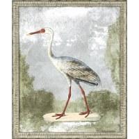 "33"" x 27"" Red Beak White Crane Wall Art in Silver Frame"