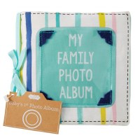 """6"""" Square My Family Cloth Photo Album Book by Mud Pie"""