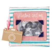 "6"" Square Grandma & Me Fabric Photo Album Book by Mud Pie"