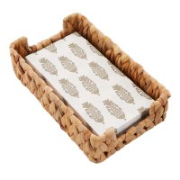 """9"""" x 6"""" Woven Basket Towel Holder With Pack of Printed White and Tan Guest Towels"""