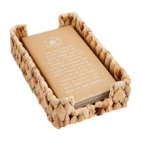 """9"""" x 6"""" Woven Basket Towel Holder With Pack of Kraft Sand Dollar Guest Towels"""