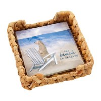 """6"""" Square Woven Basket Napkin Holder With Pack of The Beach is Calling Napkins"""