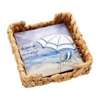 """6"""" Square Woven Basket Napkin Holder With Pack of Waves Crash Beach Napkins"""