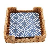 "6"" Square Woven Basket Napkin Holder With Pack of Indigo Mosaic Napkins"