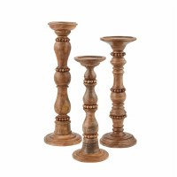 Set of 3 Beaded Wood Hand Carved Pillar Candle Holders