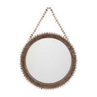 "18"" Round Wood Mirror With Whitewashed Wood Beaded Rim and Hanging Loop"