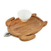 "14"" Wood and Silver Turtle Tray With Ceramic Dip Bowl"