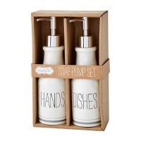 """Set of 2 8"""" White Ceramic Hands & Dishes Soap Pump Set by Mud Pie"""