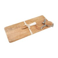 "7"" x 17"" Wood and Antique Silver Turtle Serving Board With Enamel Dipped Spreader"