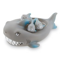 """7"""" Mama Shark Bath Toy With Three Baby Shark Squirt Toys by Mud Pie"""
