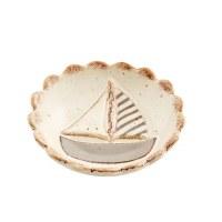 "4"" Round Hand Painted Stoneware Sailboat Dipping Dish by Mud Pie"