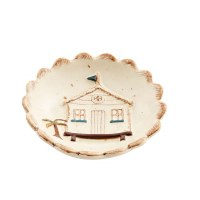 """4"""" Round Hand Painted Stoneware House Dipping Dish by Mud Pie"""