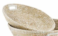 """22"""" Round Woven Seagrass Tray With Handles"""