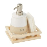 """8"""" White and Beige Stoneware Soap Dispenser With Sponges and Wood Tray"""