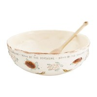 """12"""" Round Brown and White Hand Painted Sea Turtle Serving Bowl With Serving Spoon"""