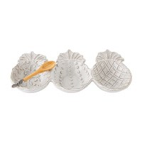 """11"""" White Terracotta Triple Pineapple Dip Bowls With Wood Spoon"""