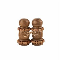 "4"" Brown Beaded Wood Salt & Pepper Shakers"